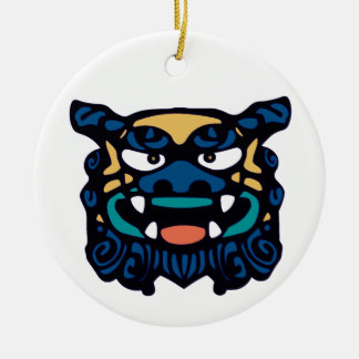 Blue Shisa Pair Ceramic Ornament