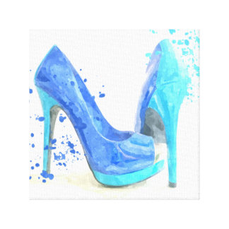 Blue shoes fashion trendy glamour canvas print