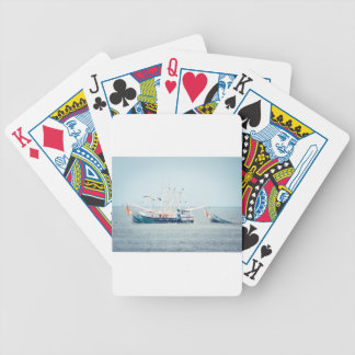 Blue Shrimp Boat on the Ocean Bicycle Playing Cards