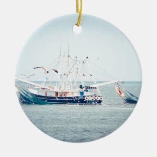 Blue Shrimp Boat on the Ocean Ceramic Ornament