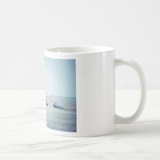 Blue Shrimp Boat on the Ocean Coffee Mug
