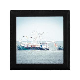 Blue Shrimp Boat on the Ocean Gift Box