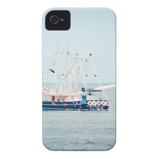 Blue Shrimp Boat on the Ocean iPhone 4 Cases
