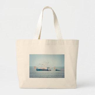 Blue Shrimp Boat on the Ocean Large Tote Bag