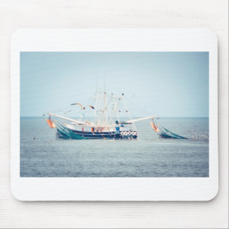 Blue Shrimp Boat on the Ocean Mouse Pad