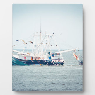 Blue Shrimp Boat on the Ocean Photo Plaque