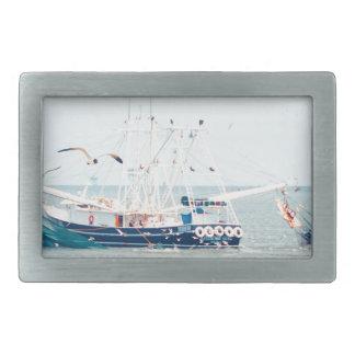 Blue Shrimp Boat on the Ocean Rectangular Belt Buckles