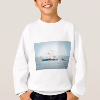 Blue Shrimp Boat on the Ocean Sweatshirt