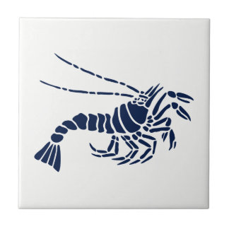 Blue Shrimp on White Ceramic Tile