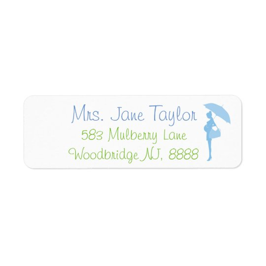 Blue Silhouette Baby Shower Address Labels