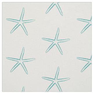 Blue Silhouette Starfish Fabric