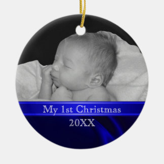 Blue Silk Baby's First Christmas Photo Ornament