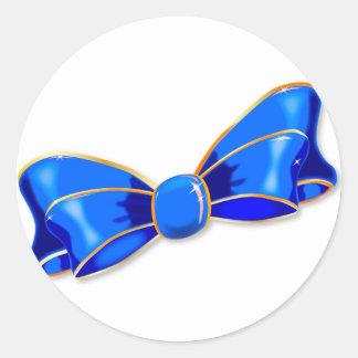 Blue Silk Bow Round Sticker