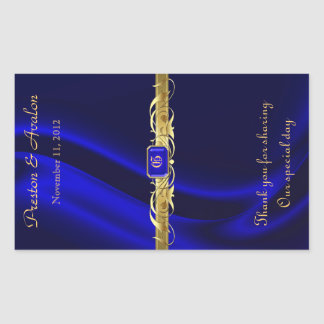 Blue Silk Gold Scroll Wedding Wine Sticker