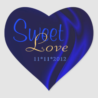 Blue Silk Heart Candy Buffet Sticker
