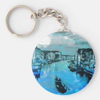 Blue Silk In Italian Basic Round Button Key Ring