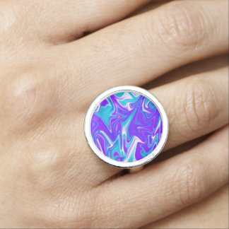 Blue Silky Marbleized Sky, Round Dress Ring. Ring