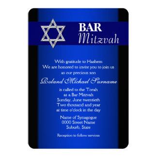 Blue silver bar mitzvah blue background 13 cm x 18 cm invitation card