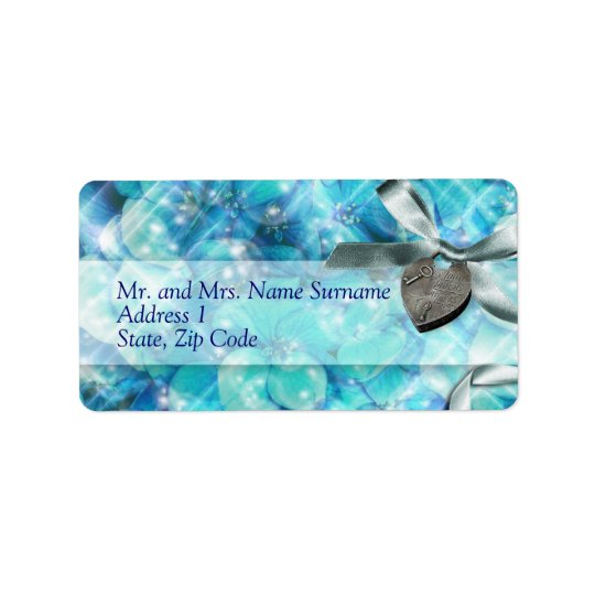 Blue silver beach heart party label