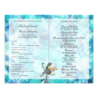"Blue silver beach heart ""wedding program"" #2 flyer design"