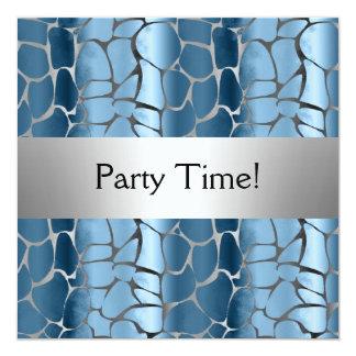 Blue Silver Birthday Party Personalized 13 Cm X 13 Cm Square Invitation Card