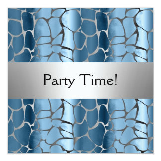Blue Silver Birthday Party Personalized Card