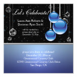 Blue Silver Black Christmas Post Wedding Invite
