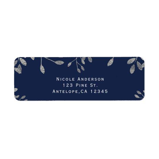 Blue & Silver Botanical Modern Wedding Invitation Return Address Label