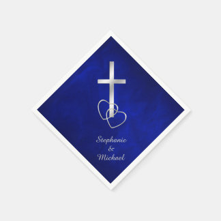 Blue Silver Christian Cross Wedding Paper Napkins
