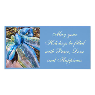Blue & Silver Christmas Bow w/ Wired Mesh Garland Photo Greeting Card