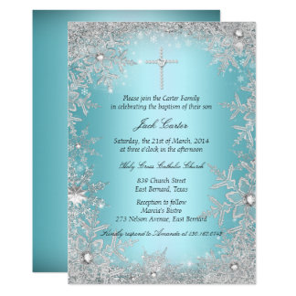 Blue Silver Crystal Snowflake Baptism/Christening Card