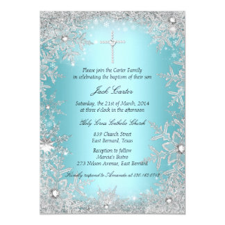 Blue Silver Crystal Snowflake Baptism/Christening Card