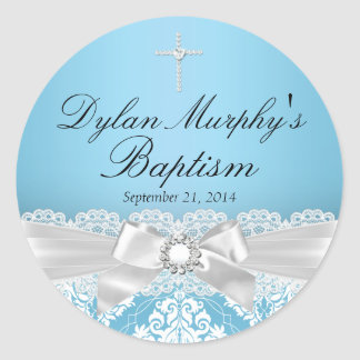 Blue Silver Damask & Bow Baptism Sticker