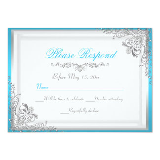 Blue & Silver Damask RSVP Reply Card