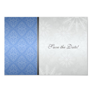 Blue Silver Damask with Snowflakes Save the Date 9 Cm X 13 Cm Invitation Card