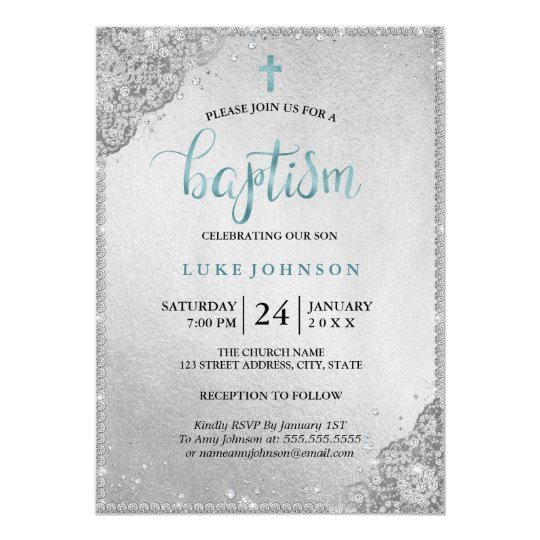Blue Silver Diamond Lace Cross Baptism Card