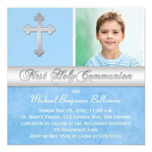 Blue Silver First Holy Communion Photo Invitation