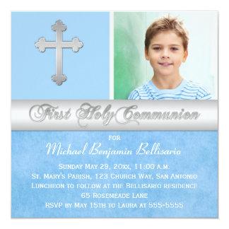 "Blue Silver First Holy Communion Photo Invitation 5.25"" Square Invitation Card"