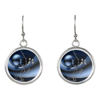 blue silver floral drop earrings