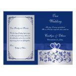 Blue, Silver Floral Hearts Wedding Program 21.5 Cm X 28 Cm Flyer