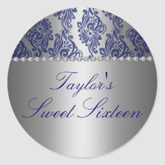 Blue & Silver Floral Print Sweet 16 Sticker