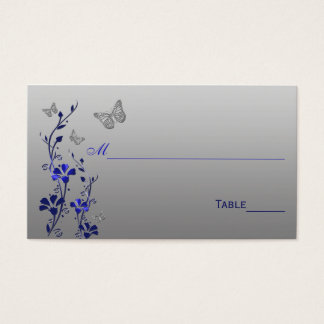 Blue, Silver Floral with Butterflies Place Cards