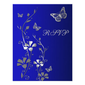 Blue Silver Floral with Butterflies Reply Card 2