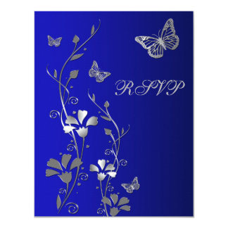 Blue, Silver Floral with Butterflies Reply Card 2 11 Cm X 14 Cm Invitation Card