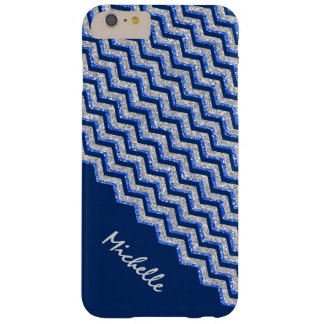 Blue Silver Glitter Chevron Personalized Barely There iPhone 6 Plus Case
