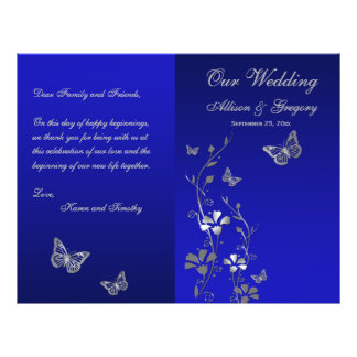 Blue, Silver Gray Butterfly Floral Wedding Program 21.5 Cm X 28 Cm Flyer