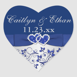 Blue, Silver Gray Floral Wedding Favor Sticker