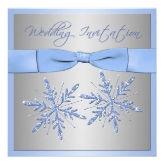 Blue Silver Gray Snowflakes Wedding Invite