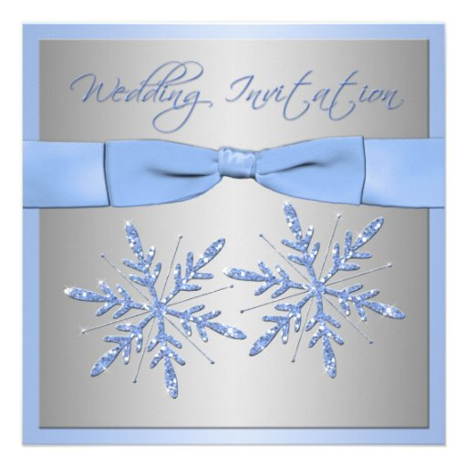 Blue, Silver Gray Snowflakes Wedding Invite