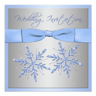 """Blue, Silver Gray Snowflakes Wedding Invite 5.25"""" Square Invitation Card"""